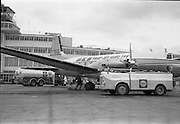 01/04/1963<br /> 04/01/1963<br /> 01 April 1963<br /> Refuelling of B.K.S. AVRO 748 prop-jet (G-ARMW) at Dublin Airport. Aircraft being refuelled in front of the terminal building by Shell BP Leyland Hippo fuel truck and a safety vehicle?