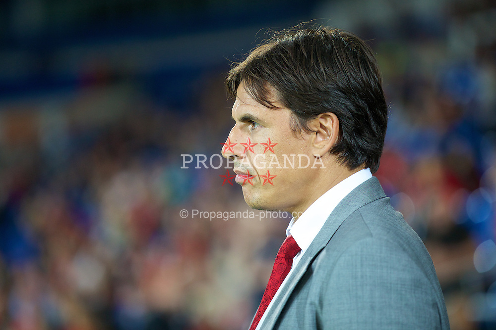 CARDIFF, WALES - Wednesday, August 14, 2013: Wales' manager Chris Coleman during an International Friendly against Republic of Ireland at the Cardiff City Stadium. (Pic by David Rawcliffe/Propaganda)
