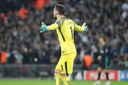 Tottenham Hostpur goalkeeper Hugo Lloris (1) appealing with hands spread during the Champions League match between Tottenham Hotspur and Real Madrid at Wembley Stadium, London, England on 1 November 2017. Photo by Matthew Redman.