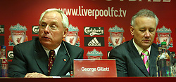 Liverpool, England - Tuesday, February 6th, 2007: George Gillett, with Chief-Executive Rick Parry, at a press conference after announcing his take-over of Liverpool Football Club in a deal worth around £470 million. Texan billionaire Hicks, who owns the Dallas Stars ice hockey team and the Texas Rangers baseball team, has teamed up with Montreal Canadiens owner Gillett to put together a joint £450m package to buy out shareholders, service the club's existing debt and provide funding for the planned new stadium in Stanley Park. (Pic by Dave Kendall/Propaganda)