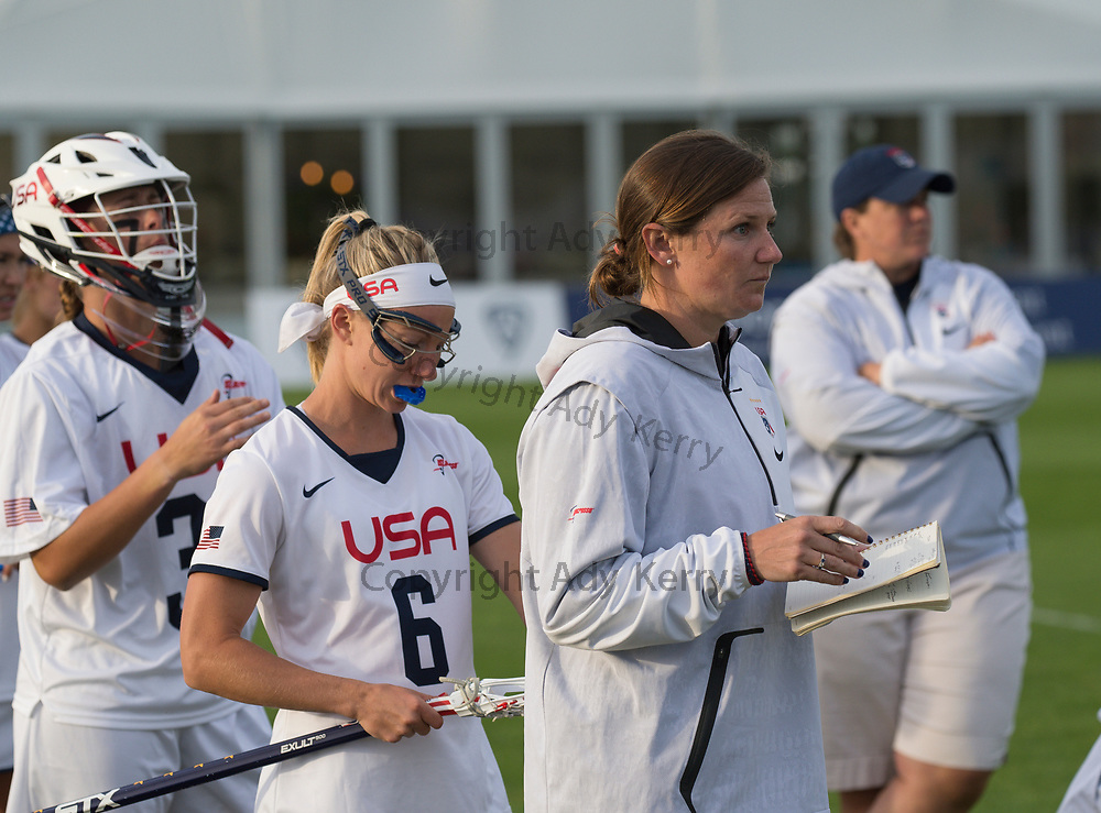 USA's coach during their semi-final at the 2017 FIL Rathbones Women's Lacrosse World Cup, at Surrey Sports Park, Guildford, Surrey, UK, 20th July 2017.