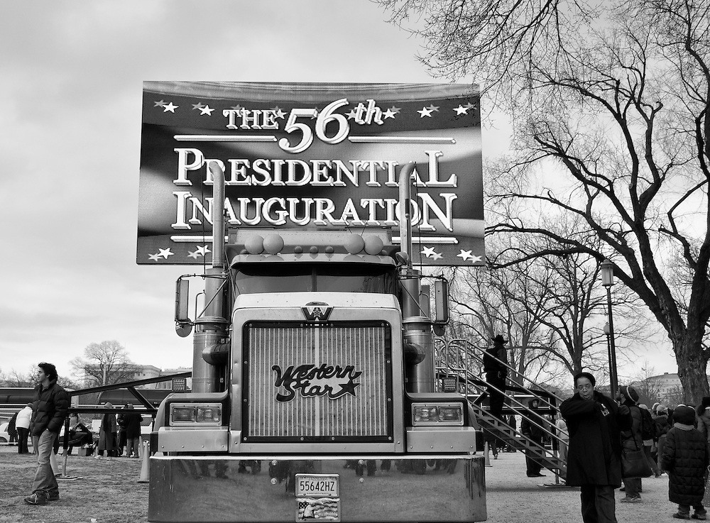 A JumboTron screen is setup on the National Mall in preparation for the main inaugural event.