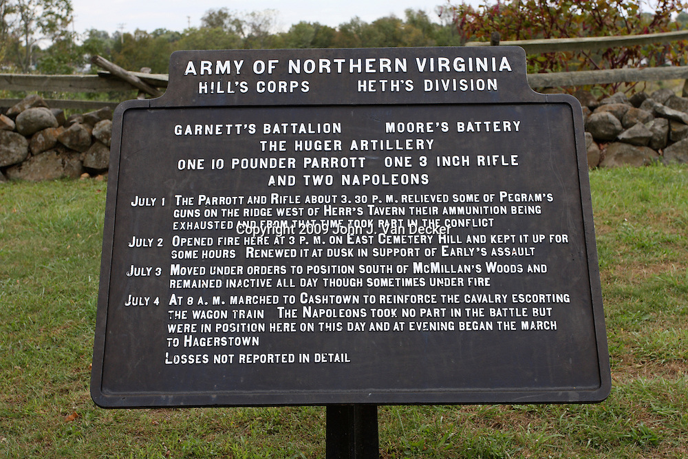 A Battery Tablet on the Gettysburg battlefield. These tablets describe the actions of specific artillery batteries during the battle.