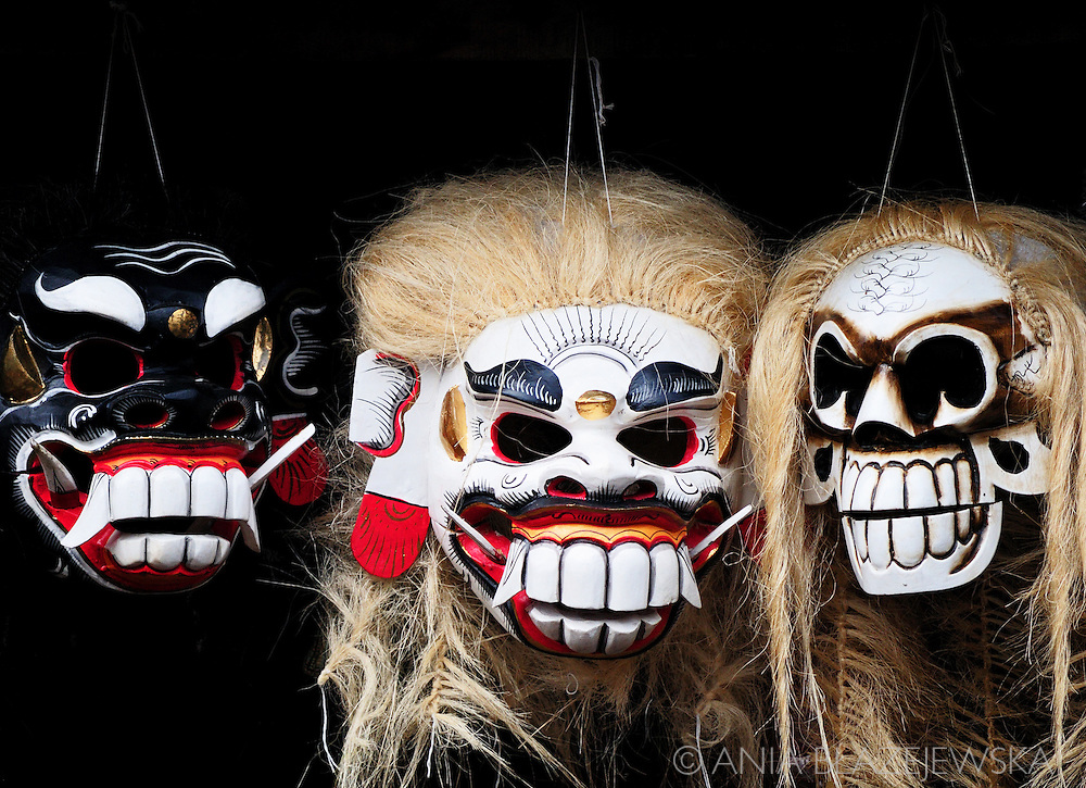 Indonesia, Bali. Traditional balinese mask presenting demons.