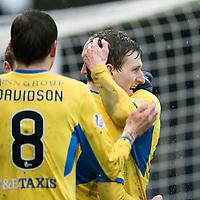 Dundee v St Johnstone…10.03.18…  Dens Park    SPFL<br />Blair Alston celebrates scoring saints third goal<br />Picture by Graeme Hart. <br />Copyright Perthshire Picture Agency<br />Tel: 01738 623350  Mobile: 07990 594431