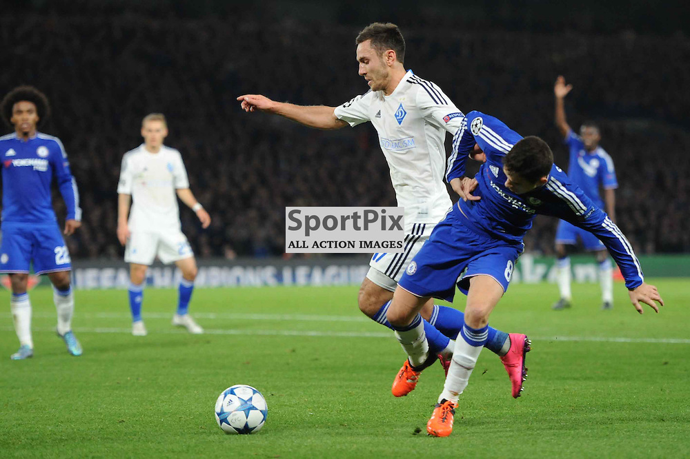 Chelseas Oscar and Dynamo Kievs Serhiy Rybalka in action during the Chelsea v Dynamo Kiev champions league match in the group stage on the 4th November 2015