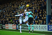 Queens Park Rangers defender Jake Bidwell (3) battles with Derby County striker Darren Bent (11) during the EFL Sky Bet Championship match between Queens Park Rangers and Derby County at Loftus Road, London, England on 14 December 2016. Photo by Jon Bromley.