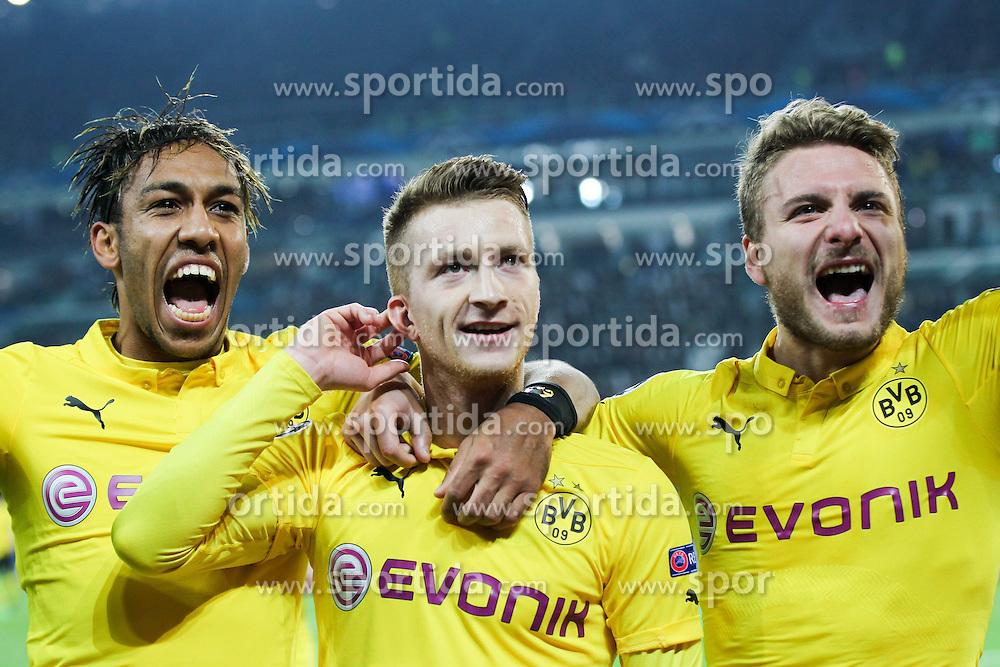 24.02.2015, Veltins Arena, Turin, ITA, UEFA CL, Juventus Turin vs Borussia Dortmund, Achtelfinale, Hinspiel, im Bild l-r: Torjubel von Pierre-Emerick Aubameyang #17 (Borussia Dortmund), Marco Reus #11 (Borussia Dortmund) und Ciro Immobilie #9 (Borussia Dortmund) // during the UEFA Champions League Round of 16, 1st Leg match between between Juventus Turin and Borussia Dortmund at the Veltins Arena in Turin, Italy on 2015/02/24. EXPA Pictures &copy; 2015, PhotoCredit: EXPA/ Eibner-Pressefoto/ Kolbert<br /> <br /> *****ATTENTION - OUT of GER*****
