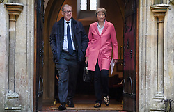 © Licensed to London News Pictures. 21/10/2018. Sonning, UK. British Prime Minister THERESA MAY attends a church service with her husband Philip near her constituency home. Photo credit: Ben Cawthra/LNP