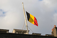 Belgian Flag at half mast in Downing Street following the terrorist attacks in Belgium.<br /> Picture by Paul Davey/Focus Images Ltd +447966 016296<br /> 22/03/2016
