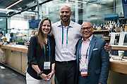 Laura Kaiser from Wisconsin Technology Council, Shaun Wanzo from UW-Milwaukee, and Ron Bote from WIPFLi at the Wisconsin Entrepreneurship Conference at Venue 42 in Milwaukee, Wisconsin, Wednesday, June 5, 2019.