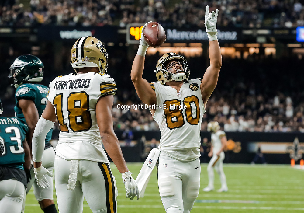 Nov 18, 2018; New Orleans, LA, USA; New Orleans Saints wide receiver Austin Carr (80) celebrates with wide receiver Keith Kirkwood (18) following a touchdown catch against the Philadelphia Eagles during the first quarter at the Mercedes-Benz Superdome. Mandatory Credit: Derick E. Hingle-USA TODAY Sports
