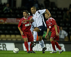 DERBY, ENGLAND - Thursday, September 8, 2011: Wales Legends' Gary Speed MBE in action against England Legends' Stan Collymore during a legends match at Pride Park. (Pic by David Rawcliffe/Propaganda)
