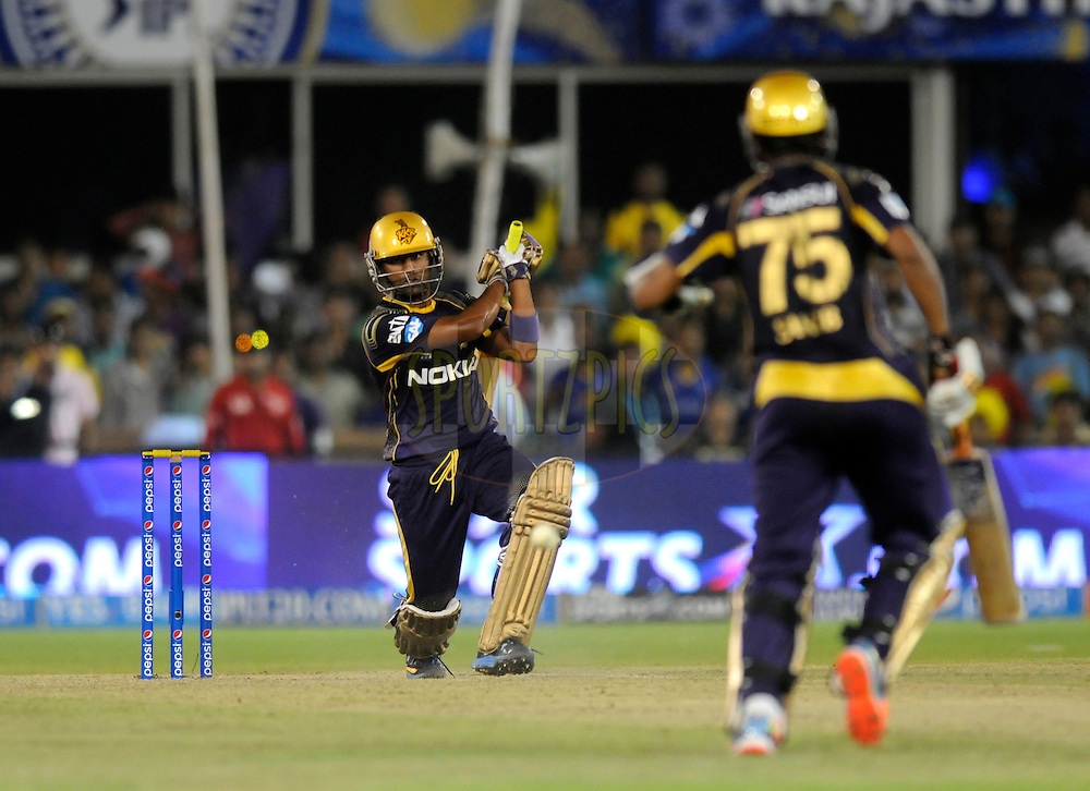 Suryakumar Yadav of the Kolkata Knight Riders bats during match 25 of the Pepsi Indian Premier League Season 2014 between the Rajasthan Royals and the Kolkata Knight Riders held at the Sardar Patel Stadium, Ahmedabad, India on the 5th May  2014<br /> <br /> Photo by Pal Pillai / IPL / SPORTZPICS      <br /> <br /> <br /> <br /> Image use subject to terms and conditions which can be found here:  http://sportzpics.photoshelter.com/gallery/Pepsi-IPL-Image-terms-and-conditions/G00004VW1IVJ.gB0/C0000TScjhBM6ikg