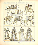 Ancient Italian fashion and lifestyle, 16th century from Geschichte des kostums in chronologischer entwicklung (History of the costume in chronological development) by Racinet, A. (Auguste), 1825-1893. and Rosenberg, Adolf, 1850-1906, Volume 3 printed in Berlin in 1888