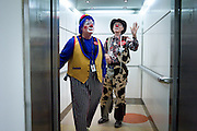 "BIRMINGHAM, AL – OCTOBER 31, 2011: Mike Coppage, or ""Beanie the Clown,"" as he's known to children, is one of 30 clowns who make regular appearances at Children's of Alabama hospital, bringing much-needed moments of laughter to children and their families as they confront frightening illnesses and healthcare crises. Coppage enrolled in clown school in 2009 after seeing the Children's clowns in a local news feature, and to date, Magic City Clown School has trained more than 250 clowns in costuming, skits, balloon twisting, puppetry and all other areas of clowning. Many of the graduates volunteer at Children's, and a number of them also make appearances at other hospitals, nursing facilities, and charity events. Coppage, who has served as Birmingham's police chief, director of public safety for Alabama, and now director of public safety and emergency management for Samford University, knows his two identities seem like polar opposites, ""but the ones who know me well say I've always been a clown,"" he said."