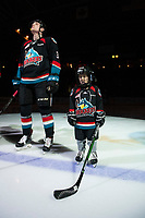 KELOWNA, CANADA - NOVEMBER 23: The Pepsi player of the game lines up alongside Dalton Gally #3 of the Kelowna Rockets against the Victoria Royals on November 23, 2018 at Prospera Place in Kelowna, British Columbia, Canada.  (Photo by Marissa Baecker/Shoot the Breeze)