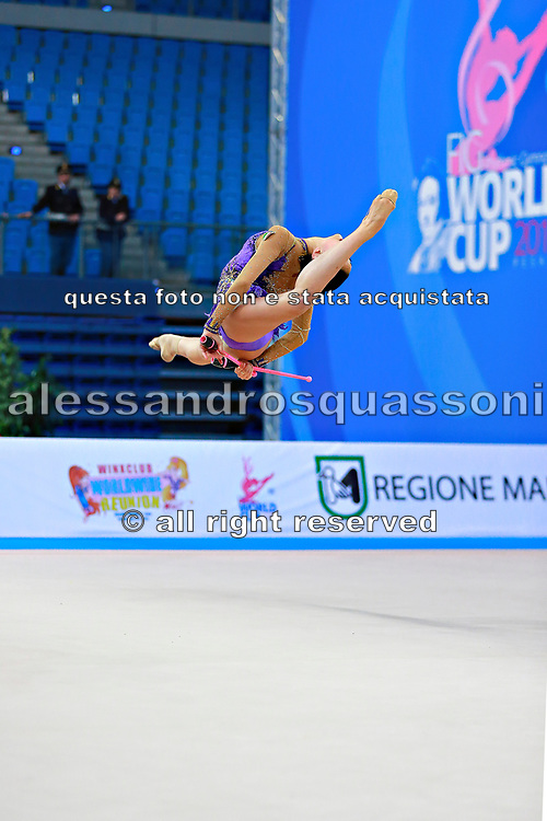 Russo Alessia during qualifying at clubs in the Pesaro World Cup April 11, 2015. Alessia is an Italian individual rhythmic gymnast, she was born on September 24,1996 in Figline Valdarno, Italy.