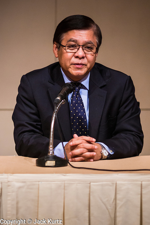 21 JUNE 2014 - BANGKOK, THAILAND:     Mr. Sihasak Phuangketkeow, Permanent Secretary for Foreign Affairs and Acting Minister of Foreign Affairs for Thailand, responds to Thailand being placed on the US Department of State blacklist for human smuggling and migrant abuse. The 2014 Trafficking in Persons (TIP) Report, released in Washington June 20, put Thailand in the same category as North Korea, Zimbabwe and Saudi Arabia.  PHOTO BY JACK KURTZ