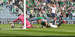 Falkirk's keeper Jamie MacDonald saves Hibernian's Farid El Alagui. <br /> half time : Hibernian 0 v 0  Falkirk, William Hill Scottish Cup semi-final, played 18/4/2015 at Hamden Park, Glasgow.
