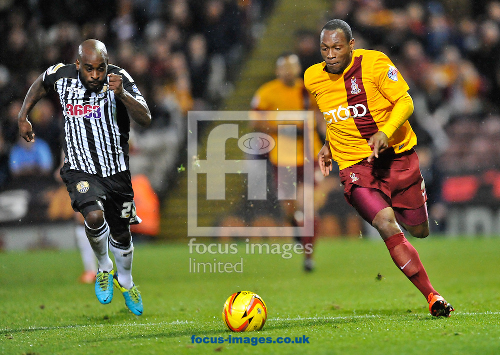 Picture by Richard Land/Focus Images Ltd +44 7713 507003<br /> 26/11/2013<br /> Kyel Reid of Bradford City and Jamal Campbell-Ryce of Notts County during the Sky Bet League 1 match at the Coral Windows Stadium, Bradford.