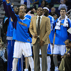 06 February 2009: New Orleans Hornets guard Chris Paul celebrates after the Hornets tied the score in the fourth quarter of a 101-92 win by the New Orleans Hornets over the Toronto Raptors at the New Orleans Arena in New Orleans, LA.