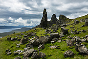 The Old Man of Storr, Trotternish area, Isle of Skye, Scotland, United Kingdom, Europe. A massive ancient landside created this distinctive landscape of eroded pinnacles.