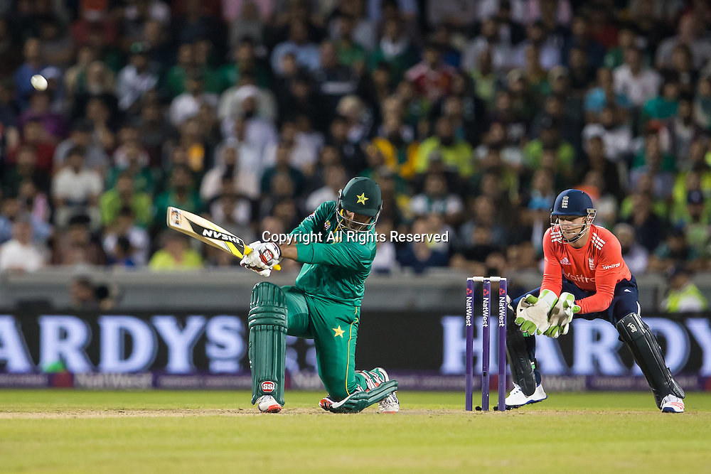 07.09.2016. Old Trafford, Manchester, England. Natwest International T20 Cricket. England Versus Pakistan. Pakistan opening batsman Sharjeel Khan hits a high four.