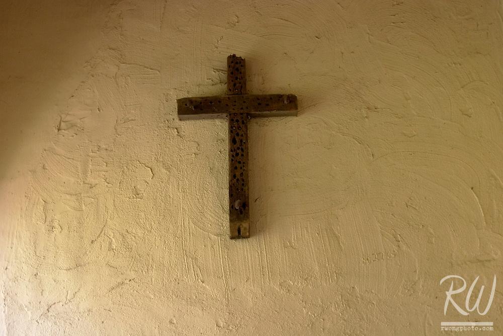 Christian Cross on Wall at Mission Santa Ines, Solvang, California