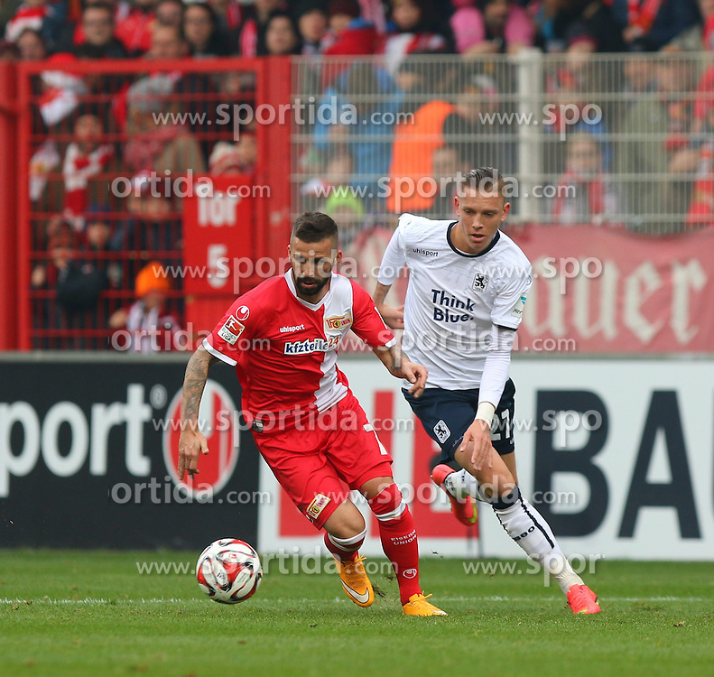 22.11.2014, Alte F&ouml;rsterei, Berlin, GER, 2. FBL, 1. FC Union Berlin vs TSV 1860 Muenchen, 14. Runde, im Bild Benjamin Koehler (1. FC Union Berlin) gewinnt den Zweikampf gegen Marius Wolf (TSV 1860 Muenchen) // SPO during the 2nd German Bundesliga 14th round match between 1. FC Union Berlin and TSV 1860 Muenchen at the Alte F&ouml;rsterei in Berlin, Germany on 2014/11/22. EXPA Pictures &copy; 2014, PhotoCredit: EXPA/ Eibner-Pressefoto/ Hundt<br /> <br /> *****ATTENTION - OUT of GER*****