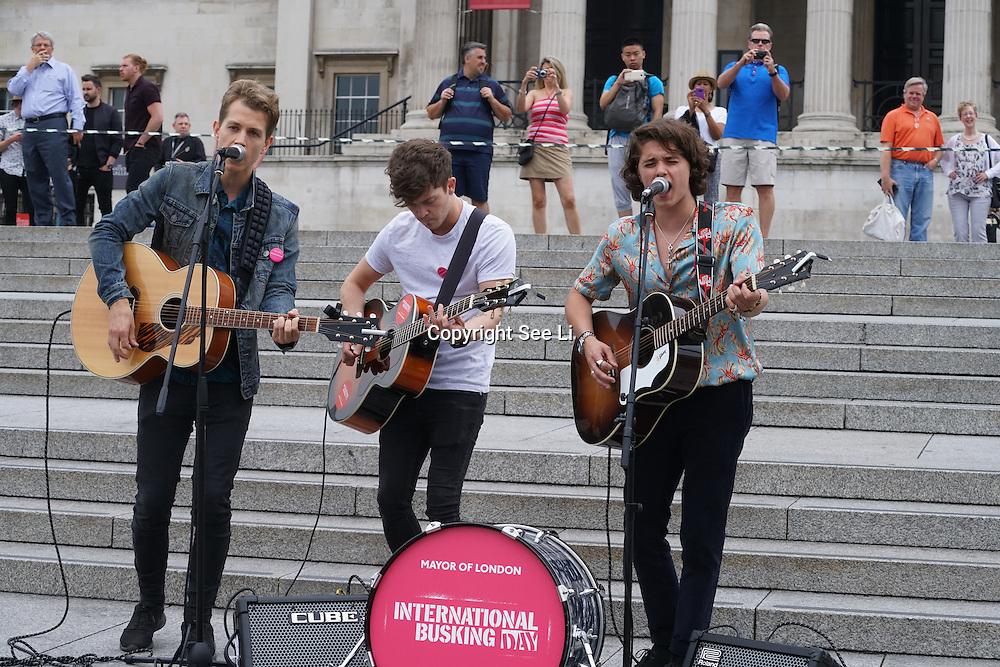 London,England,UK, 22th July 2016 : The Vamps performs at the Mayor of London Sadiq Khan Launch of International Busking Day '#LondonIsOpen' in Trafalgar Square, London, UK. Photo by See Li