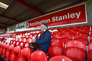 A loyal Accrington fan pre-kick-off during the EFL Sky Bet League 2 match between Accrington Stanley and Mansfield Town at the Fraser Eagle Stadium, Accrington, England on 19 August 2017. Photo by John Potts.