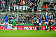 James Maddison (#10) of Leicester City scores a deflected goal during the EFL Cup match between Newcastle United and Leicester City at St. James's Park, Newcastle, England on 28 August 2019.