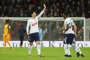Son Heung-Min of Tottenham Hotspur (7) waving during the Premier League match between Tottenham Hotspur and Brighton and Hove Albion at Wembley Stadium, London, England on 13 December 2017. Photo by Matthew Redman.