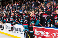 KELOWNA, CANADA - DECEMBER 1:  Conner Bruggen-Cate #20 of the Kelowna Rockets celebrates the teddy bear toss trigger goal against the Saskatoon Blades on December 1, 2018 at Prospera Place in Kelowna, British Columbia, Canada.  (Photo by Marissa Baecker/Shoot the Breeze)