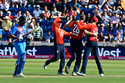 Wicket - Jake Ball of England celebrates taking the wicket of Rohit Sharma of India during the International T20 match between England and India at the SWALEC Stadium, Cardiff, United Kingdom on 6 July 2018. Picture by Graham Hunt.
