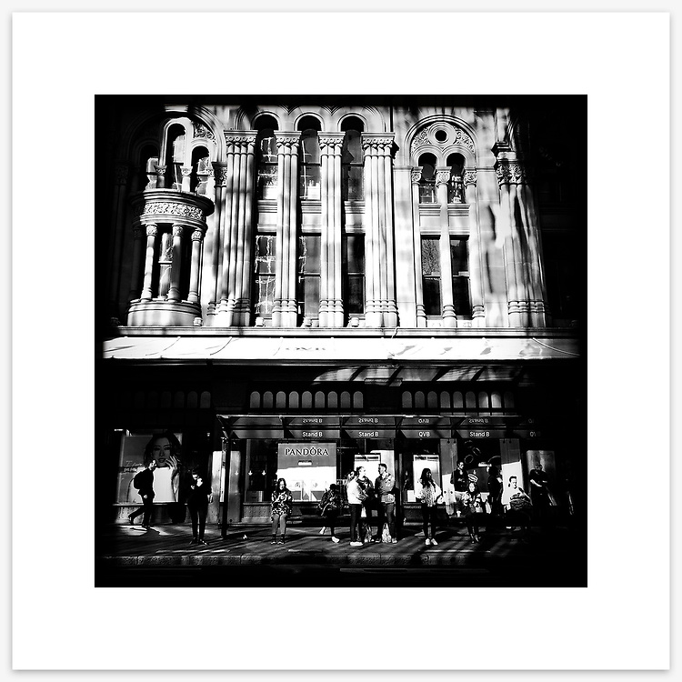 &quot;Two Worlds&quot;, York Street, Sydney. From the Ephemeral Sydney street series.<br /> <br /> As featured in my Head On Photo Festival 2018 associated exhibition &ldquo;Ephemeral Sydney&rdquo;.<br /> <br /> Available print sizes (unframed): <br /> <br /> 30 x 30 cm - Limited edition of six (6) signed &amp; numbered pigment ink prints on Hahnem&uuml;hle Photo Rag Bright White archival paper + maximum two (2) artist&rsquo;s proofs - $220<br /> <br /> 50 x 50 cm &ndash; Limited edition of six (6) as above - $450<br /> <br /> Framed prints available for delivery to Sydney metro area. POA.<br /> <br /> Price includes GST &amp; delivery within Australia.<br /> <br /> To order please email orders@girtbyseaphotography.com