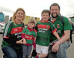 Una Monaghan with Ronan, Tristan and Jessica Monaghan from Claremorrisat McHale park on sunday last.<br />Pic Conor McKeown