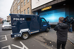 © Licensed to London News Pictures. 06/12/2017. London, UK. Media surround an armoured Police vehicle carrying terror suspects Naa'imur Zakariyah Rahman, 20, and Mohammed Aqib Imran, 21, as it arrives at Westminster Magistrates Court in London where they are accused of plotting an attack at Downing Street to kill British prime minister Theresa May. Photo credit: Ben Cawthra/LNP