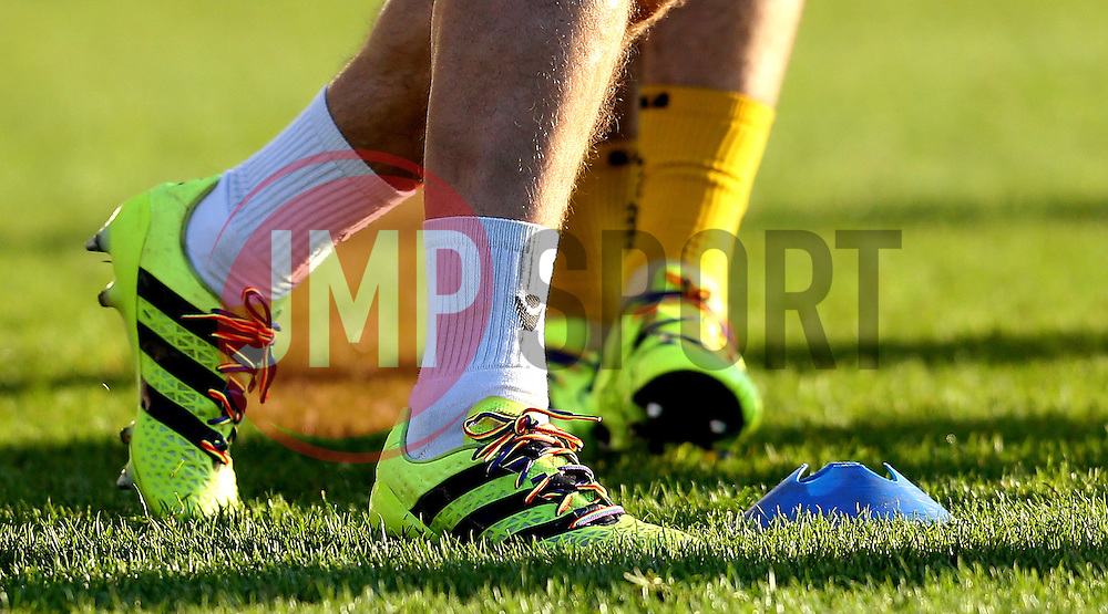 Rainbow Laces on the boots of Peter Hartley of Bristol Rovers - Mandatory by-line: Robbie Stephenson/JMP - 26/11/2016 - FOOTBALL - The Proact Stadium - Chesterfield, England - Chesterfield v Bristol Rovers - Sky Bet League One
