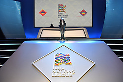LAUSANNE, SWITZERLAND - Wednesday, January 24, 2018: The new UEFA Nations League trophy during the draw for the new UEFA Nations League tournament at the SwissTech Convention Centre. (Pic by Pool/UEFA/Propaganda)