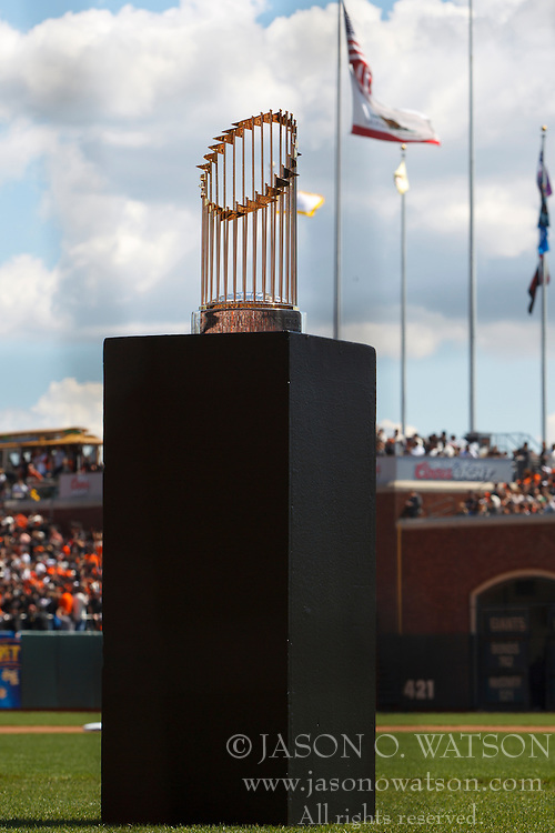 April 8, 2011; San Francisco, CA, USA;  The San Francisco Giants world series championship trophy is on display before the game against the St. Louis Cardinals \at AT&T Park.