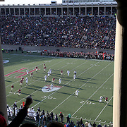 Andrew Fisher, Harvard, scores a third quarter touchdown for his side during the Harvard Vs Yale, College Football, Ivy League deciding game, Harvard Stadium, Boston, Massachusetts, USA. 22nd November 2014. Photo Tim Clayton