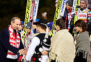 Poland, Wisla Malinka - 2017 November 18: Deputy of Sport's Minister holds trophy while awarding ceremony of Men&rsquo;s Team HS134 competition during FIS Ski Jumping World Cup Wisla 2017/2018 - Day 2 at jumping hill of Adam Malysz on November 18, 2017 in Wisla Malinka, Poland.<br /> <br /> Mandatory credit:<br /> Photo by &copy; Adam Nurkiewicz<br /> <br /> Adam Nurkiewicz declares that he has no rights to the image of people at the photographs of his authorship.<br /> <br /> Picture also available in RAW (NEF) or TIFF format on special request.<br /> <br /> Any editorial, commercial or promotional use requires written permission from the author of image.
