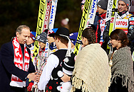 Poland, Wisla Malinka - 2017 November 18: Deputy of Sport's Minister holds trophy while awarding ceremony of Men's Team HS134 competition during FIS Ski Jumping World Cup Wisla 2017/2018 - Day 2 at jumping hill of Adam Malysz on November 18, 2017 in Wisla Malinka, Poland.<br /> <br /> Mandatory credit:<br /> Photo by © Adam Nurkiewicz<br /> <br /> Adam Nurkiewicz declares that he has no rights to the image of people at the photographs of his authorship.<br /> <br /> Picture also available in RAW (NEF) or TIFF format on special request.<br /> <br /> Any editorial, commercial or promotional use requires written permission from the author of image.