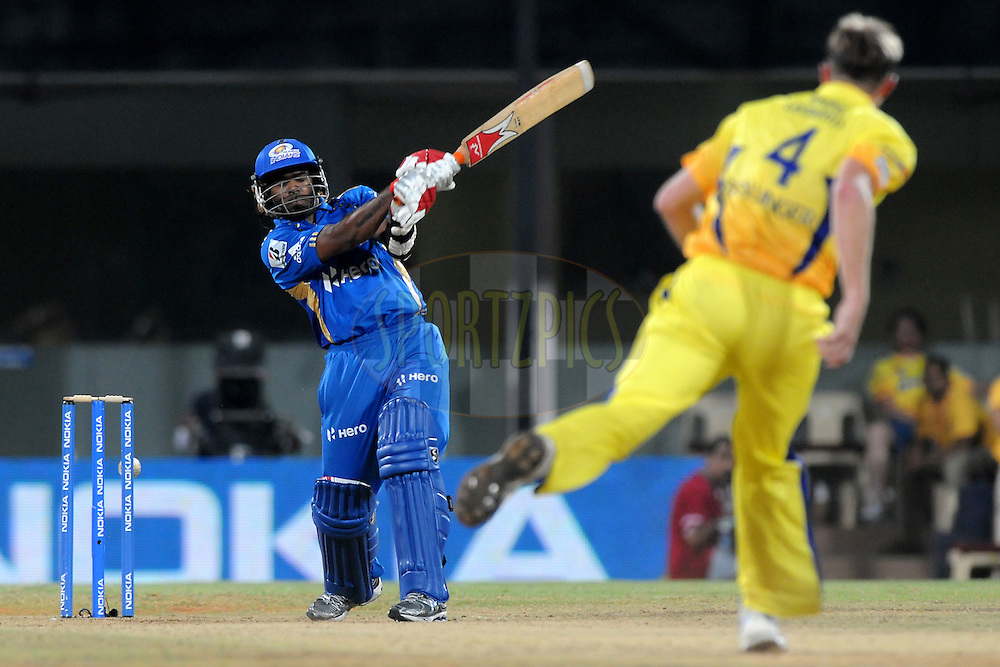 Lasith MAlinga of Mumbai Indians bats during match 3 of the NOKIA Champions League T20 ( CLT20 )between the Chennai Superkings and the Mumbai Indians held at the M. A. Chidambaram Stadium in Chennai , Tamil Nadu, India on the 24th September 2011..Photo by Pal Pillai/BCCI/SPORTZPICS