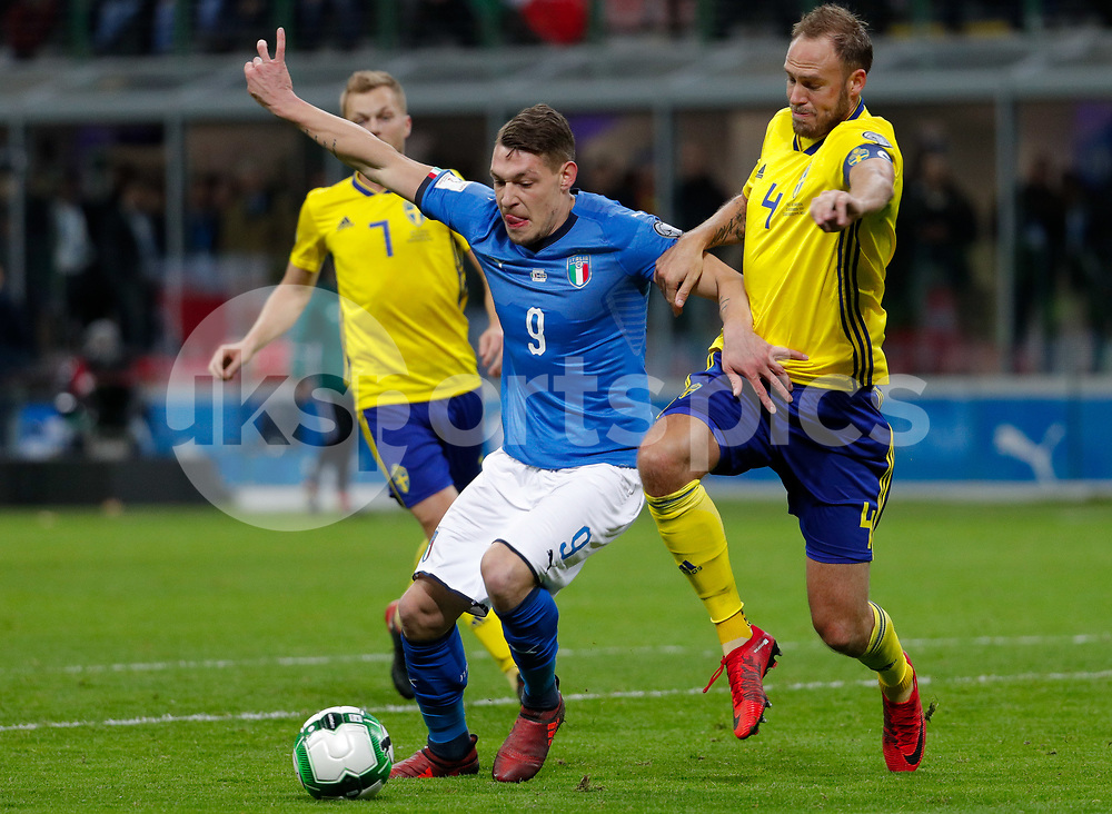 Andrea Belotti of Italy against Andreas Granqvist of Sweden during the 2018 World Cup Qualifying Play-Off match between Italy and Sweden at Stadio San Siro, Milan, Italy on 13 November 2017. Photo by Roberto Bregani.