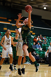 Nov 16, 2011; San Francisco CA, USA;  Cal Poly Mustangs guard Kayla Griffin (1) shoots against the San Francisco Lady Dons during the first half at War Memorial Gym.  Cal Poly defeated San Francisco 80-66. Mandatory Credit: Jason O. Watson-US PRESSWIRE
