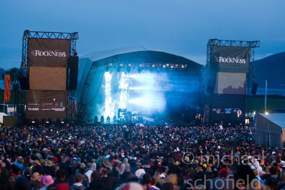 The crowd as The Chemical Brothers headline, and light up the main stage..Rockness, Saturday, 11th June 2011..RockNess 2011, the annual music festival which takes place in Scotland at Clune Farm, Dores, on the banks of Loch Ness near Inverness..Pic ©2011 Michael Schofield. All Rights Reserved..