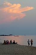 Phu Quoc Island. Long Beach (Bai Truong). Locals and tourists enjoying sunset at the beach.